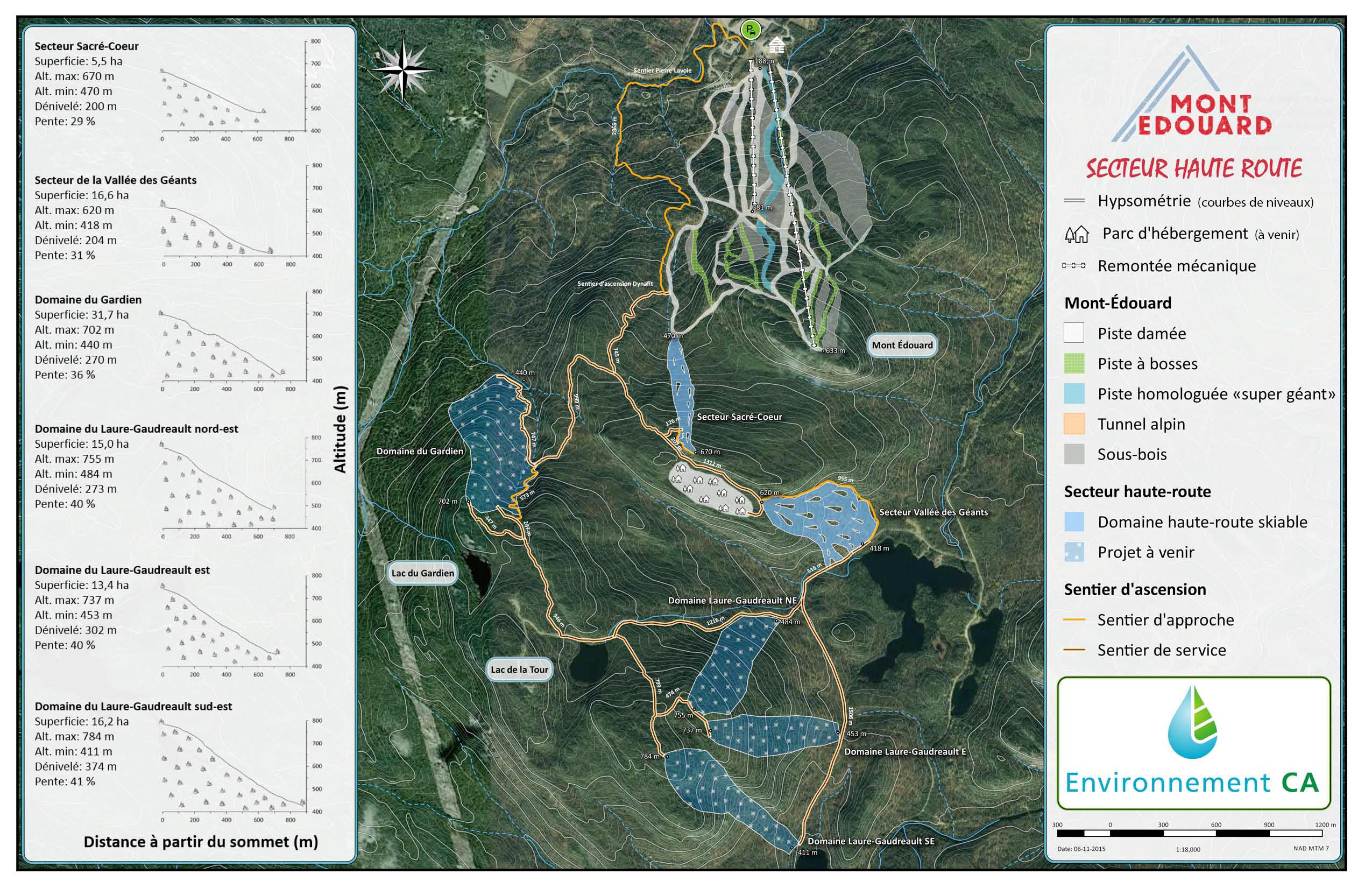 Carte de localisation des secteurs aménagés et futurs du domaine haute-route au Mont-Édouard